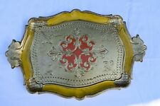 SMALL YELLOW, RED & GOLD FLORENTINE  DRINKS SERVING TRAY 35.4cmX23.2cm