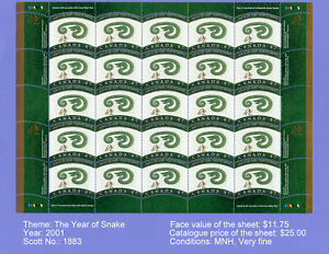 """Canada Stamps - Full Pane of 25 2001 """"Year of the Snake"""" stamps. MNH, Very fine"""