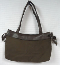 THIRTY-ONE Brown SKIRT Purse BAG Base +Pink Striped 31 BOWS Ties 2 Straps CLEAN