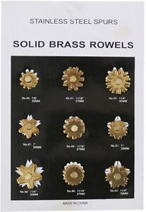 AH Equine replacement spur rowel card, 9 pair assorted brass rowels 258-400