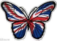 "BUTTERFLY (UNION JACK) EMBROIDERED PATCH  8cm x 5.5cm (3 1/4"" x 2 1/4"")"