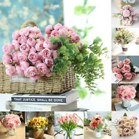 Artificial Rose Peony Daisy Tulip Flower Bouquet Bridal Wedding Party Home Decor