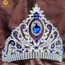 Women Pageant Tiara Diadem Weddding Bridal Crown Blue Crystal Prom Party Event