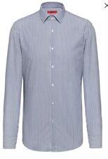 New Hugo Boss Mens 39 Chest 15 1/2 Collar Slim Fit Striped  Navy Elisha01 RRP£69