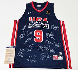 1992 U.S Dream Team x13 Autographed No.9 Jersey + COA, MJ, Bird, Pippen.. etc
