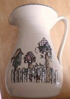 Vintage Home Garden Party Stoneware 2003 Party Pitcher Tall Birdhouse Collection