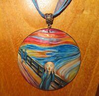 Pendant Edvard Munch SCREAM Urlo Genuine Shell HAND PAINTED signed Gorbachova