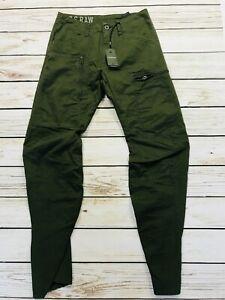 BNWT Mens G Star Raw Dark Green Cargo Trousers Powel 3D Tapered W29 L32