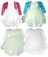 Baby Girls Butterfly Bolero Jacket Dress Christening Baptism Wedding Dresses