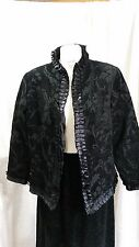 Black Colour Demask Embossed Lined Jacket Bolero by Indigo Moon - Size M