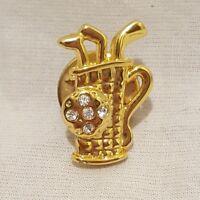 Golf Club Bag Lapel Pin Brooch Metal Gold Tone Rhinestones Costume