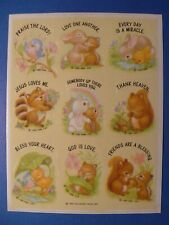 Hallmark 1985 Vintage Religious Baby Animals Sticker Sheet New