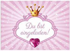 16 Einladungskarten Kindergeburtstag Prinzessin,Krone,Rosa, Einladung Mädchen