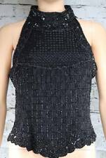 PAPELL BOUTIQUE EVENING beaded black sleeveless silk top M
