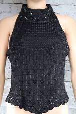 PAPELL BOUTIQUE EVENING beaded black sleeveless silk top shirt Formal M
