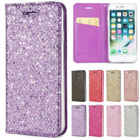 For iPhone XR Xs Plus 7 8 Plus Wallet Case Glitter Leather Magnetic Flip Cover