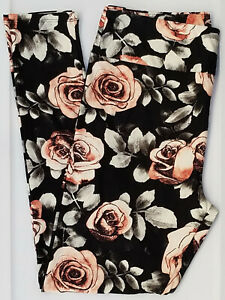 TC LuLaRoe Tall & Curvy Leggings Gorgeous Roses on Black NWT E44