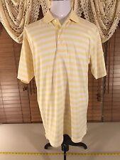Mens Greg Norman Play Dry L Large Moisture Wicking Yellow Polo Golf StripeShirt