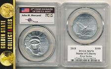 2018 (W)  $100 PLATINUM EAGLE PCGS MS 70 FIRST STRIKE MERCANTI LABEL VERY RARE!!