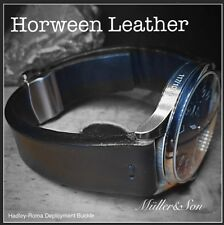 Müller&Son Genuine Horween Leather 22 mm Black Watch Strap Hadley Roma Buckle