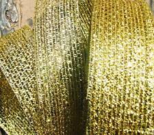 "5 Yds Christmas Gold Metallic Mesh Wired Ribbon 2""W"