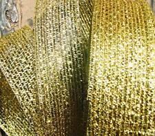 "5 Yds Christmas Gold Metallic Mesh Wired Ribbon 2""W"