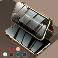 For iPhone 12 11 Pro Max 360°Magnetic Tempered Glass Case Anti Spy Privacy Cover