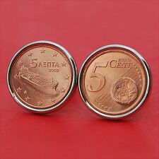 Gorgeous 2002 Greece 5 Euro Cent BU Uncirculated Coin Freighter Cufflinks NEW