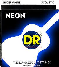 DR NWA-11 Neon WHITE Acoustic Guitar Strings 11-50 med-lite