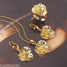 18KYellow Gold Filled CZ Necklace/Pendant/Earrings/Ring Set (S-133)