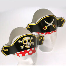 Lot of 24 Paper Pirate Hats for Childs Birthday Party School Treasure Hunt Skull
