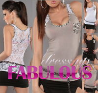 NEW SEXY WOMENS TOP PARTY CASUAL EVENING SINGLET SHIRT CLOTHES Size 4 6 8 10 S M