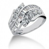 2.25 Carats TW Women's Round and Baguette Cut Diamond Anniversary Ring 14k WG