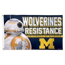 MICHIGAN WOLVERINES STAR WARS BB-8 WOLVERINES RESISTANCE 3'X5' DELUXE FLAG NEW