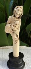 Grim Reaper Death Skull Deer Antler Carved Standing Carving Antler Stand Great