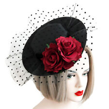 Fascinator Sexy Women Polka Dot Red Flower Hat Hair Clip Pin Barrette Headwear