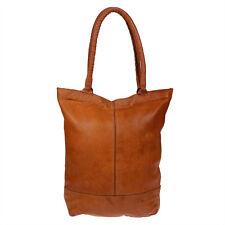 Vintage echt Leder Damen Ledertasche Schultertasche Shopper Handtasche Cognac
