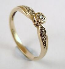 100% Genuine 9k Solid Yellow Gold Diamond Ring Sz 8.5 US