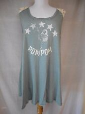 nwt We the Free People Top Blouse Sz M Pom-Pom Girl Gray White Lace Stars Swing
