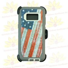 USA Flag For Samsung Galaxy S8 Plus Case Cover w/[Clip Fits Otterbox Defender]