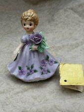 Vintage Josef Month February Violet Girl Figurine w/Tag