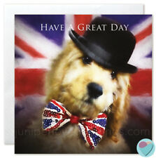 Spaniel Dog Dad birthday card Cockerpoo lover Puppy British Bow Tie UK greeting