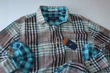 Tommy Bahama Shirt Parana Plaid Tigers Eye T315307 LS New Medium M