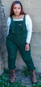 Run & Fly UNISEX  FOREST GREEN  BAGGY FIT STRETCH  CORDUROY DUNGAREES
