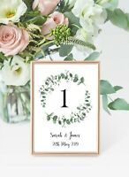 Greenery eucalyptus Wreath Wedding Table number cards A6 - price per card