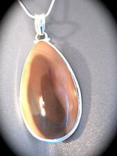 Beige Brown Jasper Teardrop Necklace Silver Sterling Pendant Imperial Stone