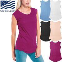 Womens Tank Top Cotton Sleeveless T Shirts Round Back Workout Running Yoga