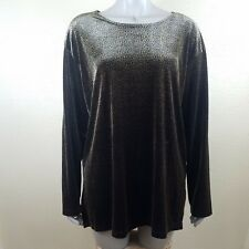 Impressions Lifestyle Women's Large Stretch Long Sleeve Shirt Leopard Velvet