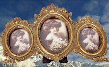 Bilderrahmen Gold oval Dreier Jugendstil Vintage Deko Weihnachts Geschenk