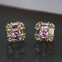 14K Yellow Gold Over 1Ct Square Pink Sapphire & Diamond Cluster Stud Earrings